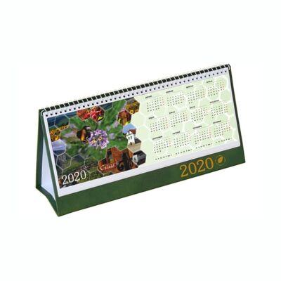 Asztali naptár képes Csízió álló fehér lapos idézetes PVC hátlap zöld 2020.