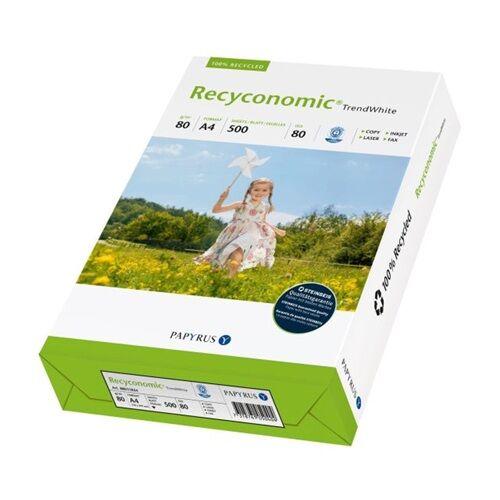 Fénymásolópapír RECYCONOMIC TrendWhite ISO 80-s A/4 újrahasznosított 80 gr 500 ív/csomag