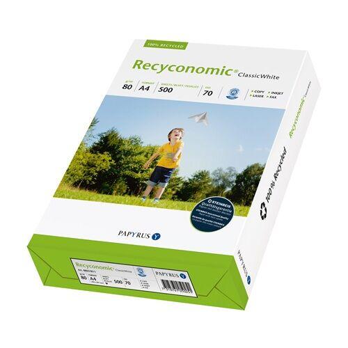 Fénymásolópapír RECYCONOMIC ClassicWhite ISO 70-s A/4 újrahasznosított 80 gr (500 ív/csomag)