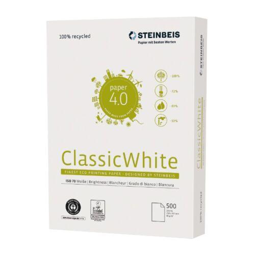 Fénymásolópapír Steinbeis ClassicWhite ISO 70-s A/4 újrahasznosított 80 gr 500 ív/csomag