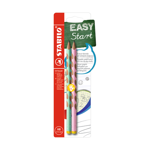 Grafitceruza STABILO Easygraph Pastel HB háromszögletű 2 db-os zöld-rózsaszín