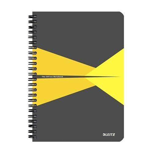 Spirálfüzet LEITZ Office A/5 karton borítóval 90 lapos kockás sárga